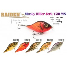 RAIDEN «Musky Killer Jerk» 125 WS (70 g, 125 mm, colour SS10-07) wooden